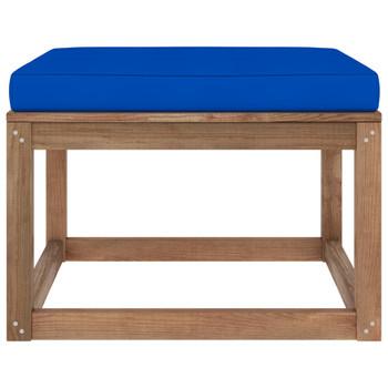 vidaXL Vrtni tabure s plavim jastukom