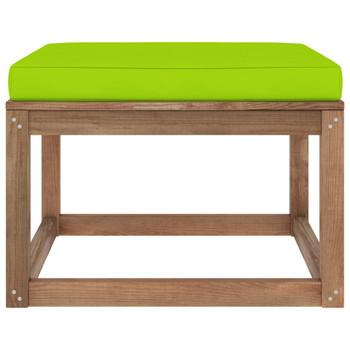 vidaXL Vrtni tabure s jarko zelenim jastukom