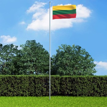 vidaXL Litavska zastava s aluminijskim stupom 4 m