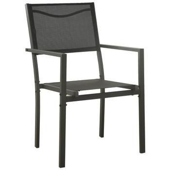 vidaXL Vrtne stolice 2 kom od tekstilena i čelika crne i antracit