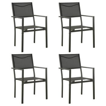 vidaXL Vrtne stolice 4 kom od tekstilena i čelika crne i antracit