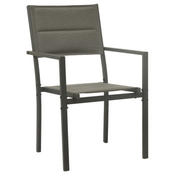 vidaXL Vrtne stolice 2 kom od tekstilena i čelika sive i antracit