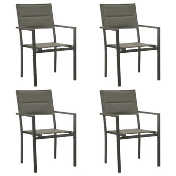 vidaXL Vrtne stolice 4 kom od tekstilena i čelika sive i antracit