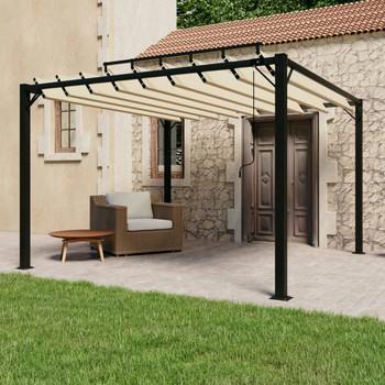 vidaXL Sjenica s rešetkastim krovom 3 x 3 m krem tkanina i aluminij