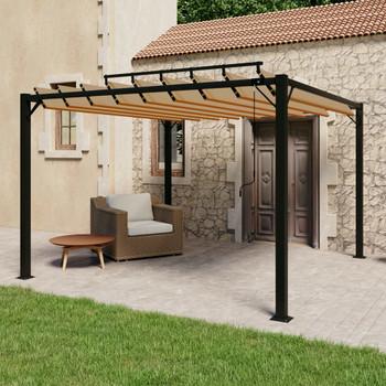 vidaXL Sjenica s rešetkastim krovom 3x3 m smeđe-siva tkanina/aluminij