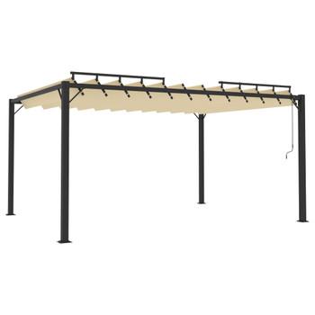 vidaXL Sjenica s rešetkastim krovom 3 x 4 m krem tkanina i aluminij