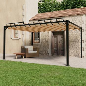 vidaXL Sjenica s rešetkastim krovom 3x4 m smeđe-siva tkanina/aluminij