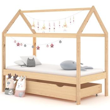 vidaXL Okvir za dječji krevet s ladicom od masivne borovine 80x160 cm