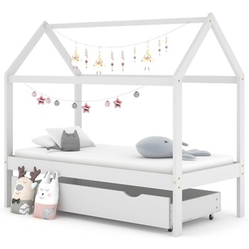 vidaXL Okvir za dječji krevet s ladicom od borovine bijeli 80 x 160 cm