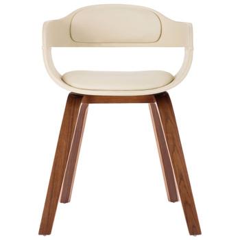 vidaXL Blagovaonska stolica krem od umjetne kože i savijenog drva