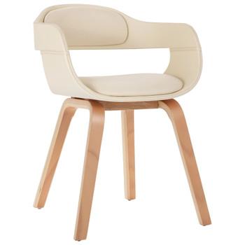 vidaXL Blagovaonska stolica od umjetne kože i savijenog drva krem