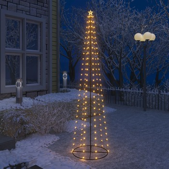 vidaXL Stožasto božićno drvce sa 136 bijelih LED žarulja 70 x 240 cm