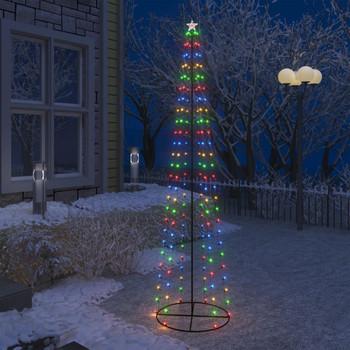 vidaXL Stožasto božićno drvce sa 136 šarenih LED žarulja 70 x 240 cm