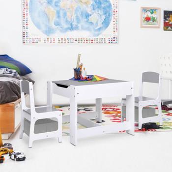 vidaXL Dječji stolić s 2 stolice bijeli MDF
