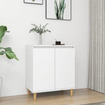 vidaXL Komoda s nogama od masivnog drva bijela 60 x 35 x 70 cm iverica