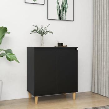vidaXL Komoda s nogama od masivnog drva crna 60 x 35 x 70 cm iverica