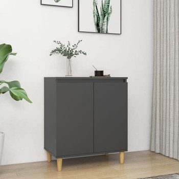 vidaXL Komoda s nogama od masivnog drva siva 60 x 35 x 70 cm iverica