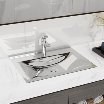 vidaXL Umivaonik sa zaštitom od prelijevanja 60x46x16 cm keramički srebrni