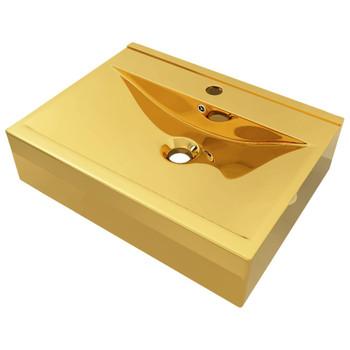 vidaXL Umivaonik sa zaštitom od prelijevanja 60x46x16 cm keramički zlatni