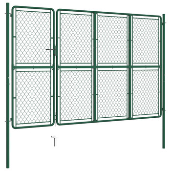 vidaXL Vrtna vrata čelična 175 x 350 cm zelena