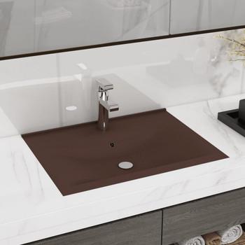 vidaXL Luksuzni umivaonik mat tamnosmeđi 60 x 46 cm keramički