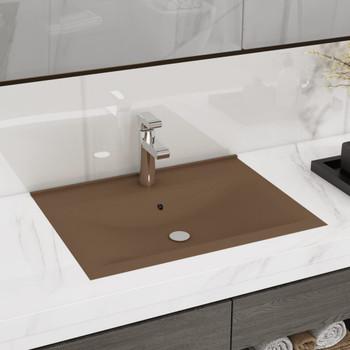 vidaXL Luksuzni umivaonik mat krem 60 x 46 cm keramički