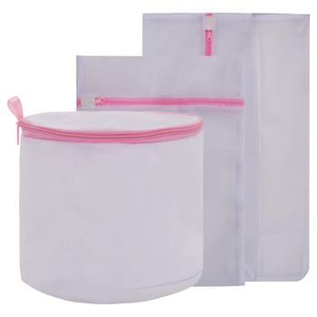 vidaXL 3-dijelni set mrežastih vrećica za rublje bijelo-ružičasti
