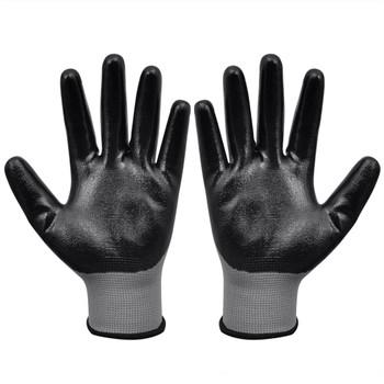 vidaXL Radne rukavice nitrilne 1 par sivo-crne veličina 9/L
