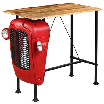 vidaXL Barski stol u obliku traktora od masivnog drva manga crveni 60 x 120 x 107 cm