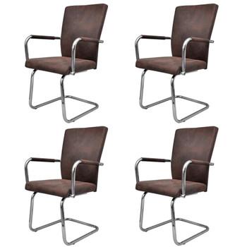 vidaXL Konzolne blagovaonske stolice leathaire 4 kom smeđe