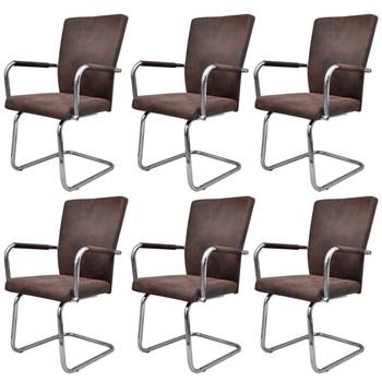 vidaXL Konzolne blagovaonske stolice leathaire 6 kom smeđe