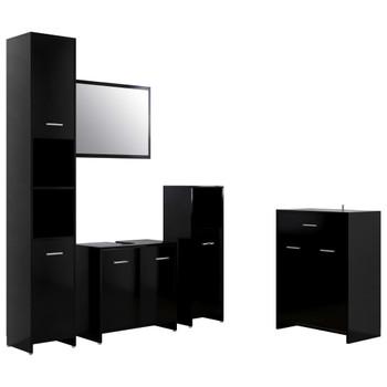 vidaXL 4-dijelni set kupaonskog namještaja crni