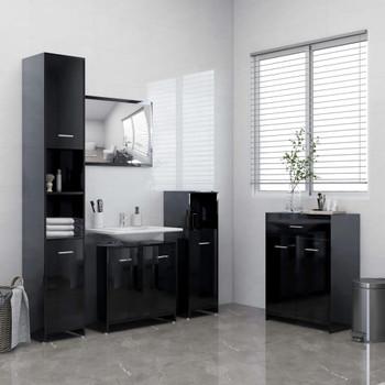 vidaXL 4-dijelni set kupaonskog namještaja visoki sjaj crni