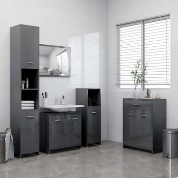 vidaXL 4-dijelni set kupaonskog namještaja visoki sjaj sivi