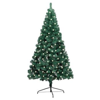 vidaXL Umjetna polovica božićnog drvca i stalak LED zelena 240 cm PVC