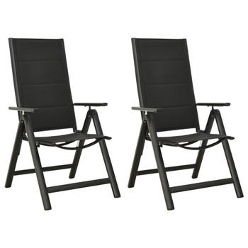 vidaXL Sklopive vrtne stolice 2 kom od tekstilena i aluminija crne