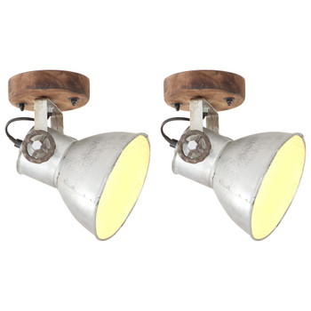 vidaXL Industrijske zidne/stropne svjetiljke 2kom srebrne 20x25 cm E27