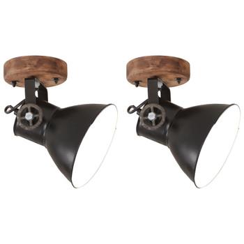 vidaXL Industrijske zidne/stropne svjetiljke 2 kom crne 20x25 cm E27