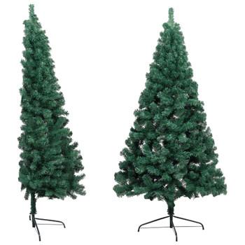 vidaXL Umjetna polovica božićnog drvca sa stalkom zelena 210 cm PVC