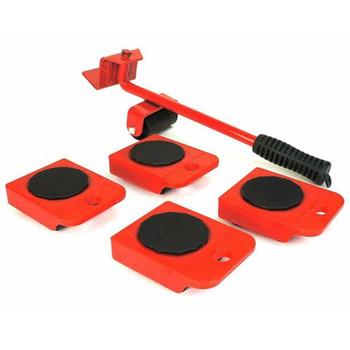 HI set kotača za transport namještaja crveno-crni