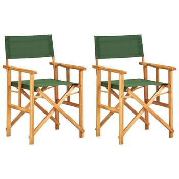 vidaXL Redateljske stolice 2 kom od masivnog bagremovog drva zelene