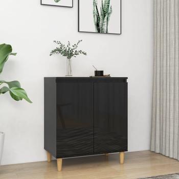 vidaXL Komoda s drvenim nogama sjajna crna 60 x 35 x 70 cm iverica