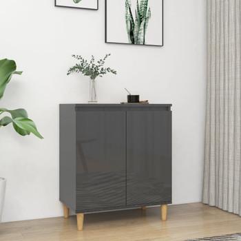 vidaXL Komoda s drvenim nogama sjajna siva 60 x 35 x 70 cm od iverice