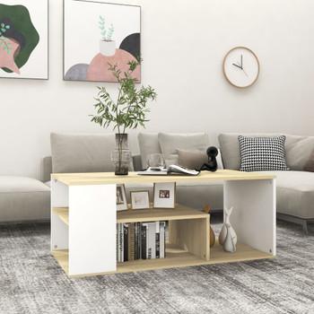 vidaXL Stolić za kavu bijeli i boja hrasta 100 x 50 x 40 cm od iverice