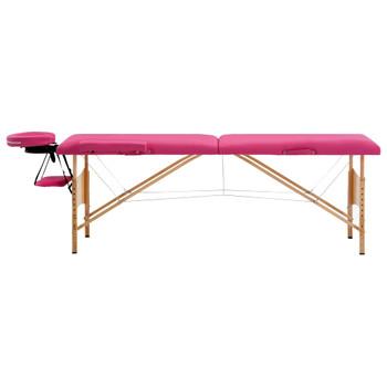 vidaXL Sklopivi masažni stol s 2 zone drveni ružičasti