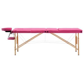 vidaXL Sklopivi masažni stol s 3 zone drveni ružičasti