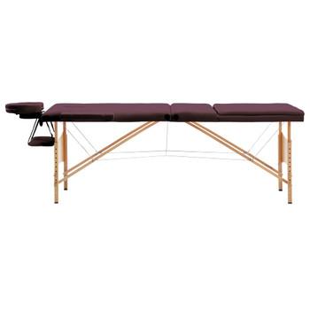 vidaXL Sklopivi masažni stol s 3 zone drveni ljubičasta boja vina