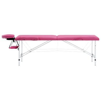 vidaXL Sklopivi masažni stol s 2 zone aluminijski ružičasti