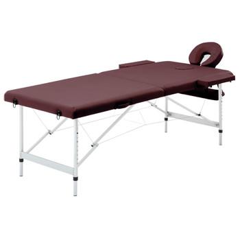 vidaXL Sklopivi masažni stol s 2 zone aluminijski ljubičasta boja vina