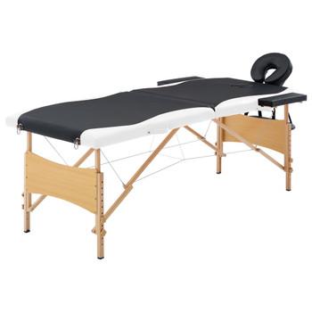 vidaXL Sklopivi masažni stol s 2 zone drveni crno-bijeli